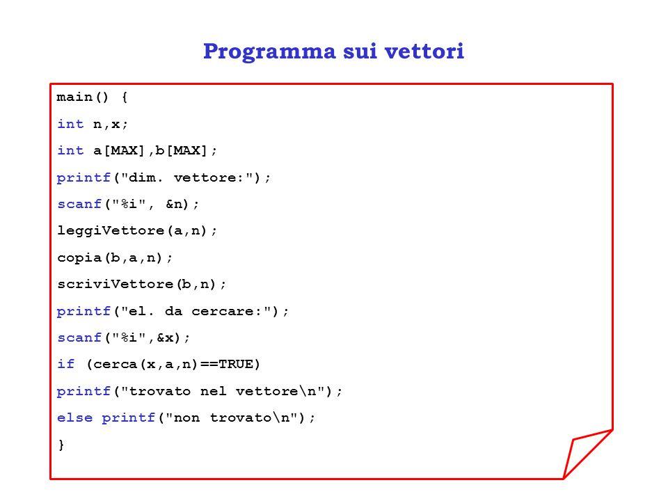 Programma sui vettori main() { int n,x; int a[MAX],b[MAX];